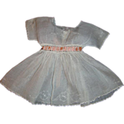 Antique Embroidered Swiss Organdy Dress w/ Peach Accent Ribbon for 14-15 In. Doll