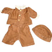 Vintage Rust Silk Three-Pc Outfit for Boy Doll, Toddler or Child