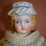 ABG Parian Type Bisque Lady with Molded Hat, Leather Body