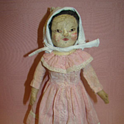 12 In. Antique Painted Stockinette Doll, Original and Lovely