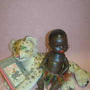 Antique Black Heubach Koppelsdorf #399 Closed Mouth Character, Steiff Leopard and Little Black Sambo Hardback