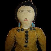18 In. Antique American Native Indian Cloth Doll, Original,