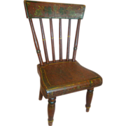Antique Hand-Painted Design Wooden Doll Chair - 17 In. Tall