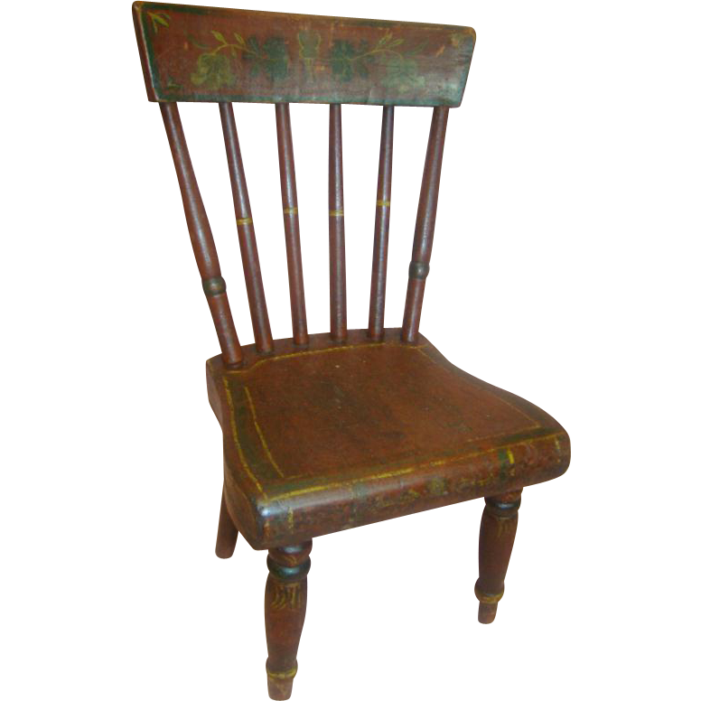 Antique Hand-Painted Design Wooden Doll Chair - 17 In. Tall - Antique Hand-Painted Design Wooden Doll Chair - 17 In. Tall From
