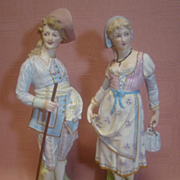Beautiful French Bisque Pair, Anchor Marks, Man with Mustache, Very Ornate