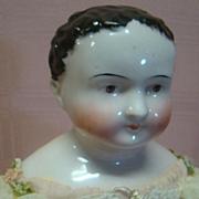 1840's Kinderkoph Child-like China Doll, Cloth Stuffed Body, Wood Lower Arms