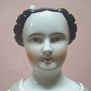 26 In. 1840's Rare Hairdo German China Shoulder Head Doll with Coiled Braided Bun