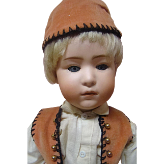 17-3/4 In. German Glass Eye Pouty Character Boy Doll by Gebruder Heubach #7247