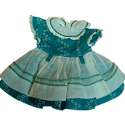 Turquoise Cotton Factory Dress with Organdy Overskirt, 40's-50's