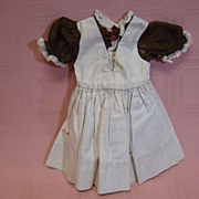 Adorable Factory Cotton Brown Dress with Organdy Sleeves, Lace Trim
