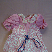 Factory Crisp Bright Pink Flocked Cotton Dress with Waffle Pique Top, Beautiful Little Doll Dress!