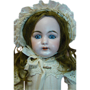 Hard to Find Kestner Mold #160 in Desirable Cabinet Size, Antique Clothes, Shoes, Blue Glass Eyes