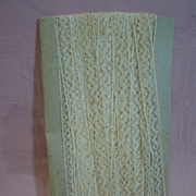 35 Yards of 3/4 In. Delicate Antique Ecru Insertion or Flat Lace Cotton Trim for Doll Dressing