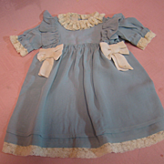 Beautiful Pale Blue Silk and Ecru Lace Trimmed High-Waist Vintage Dress for Antique Doll