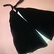 Beautiful Antique Black Cotton Velveteen Lined Cape for a French Fashion or Lady Doll