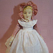 Beautiful Original Bruckner Rag Doll Topsy Turvy Mask Face, Clean and Bright Facial Features, Tagged Clothing