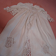 Unique and Beautiful Antique White Linen Christening Coat for Antique Doll with Loosely Woven Embroidered Trim and Inserts