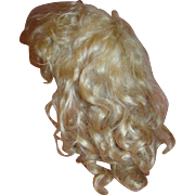 Vintage Curly Mohair Wig in Pale Blonde for Antique Doll, Head Cir. 12 Inches