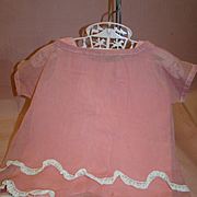 """Lace-Trimmed Apricot Organdy 1920's Dress and Matching Cotton """"Ones-ie"""" for Larger Size Antique Doll, Bisque or Composition"""