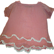 "Lace-Trimmed Apricot Organdy 1920's Dress and Matching Cotton ""Ones-ie"" for Larger Size Antique Doll, Bisque or Composition"