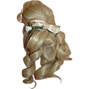 Beautiful Vintage 8 Inch Long Curly Blond Wig, Non-Stretch Cotton Mesh Wig Cap, Comb with Ribbon