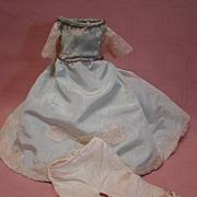 Outstanding Vintage Blue Silk Moire Ensemble, Including Pantaloons, Crinoline Bouffant Slip, for French Fashion, China Head or Parian
