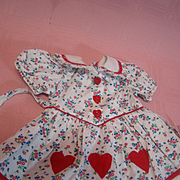 """Vintage Factory Red """"Hearts a Flutter"""" Cotton Print Dress for 16-18 In. Compo or Hard Plastic"""