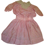 Gorgeous Pink on Pink Silk Thread Patterned Dress for a 20-22 In. Doll, Ecru Lace Collar, Blouson Style with Silk Ribbon Touches