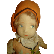 18 In. Vintage French Eugene Poir Felt Doll, Mohair Wig, Painted Features, Stuffed Body, Original Clothes with Cloche Hat
