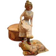 Antique Bisque Lady Attached to a Silk Covered Box
