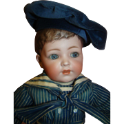 15 In. K*R Mold #127 Character Toddler Boy with Rare Dark Brown Molded and Painted Hair, Ca: 1915