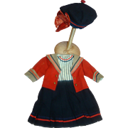 3 Piece Dress, Jacket and Hat for an Antique French Bebe or German Child Doll