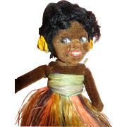 8 In. Norah Wellings Black Islander Cloth Doll, Excellent Condition