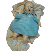 13.5 In. Lifelike Frowning / Crying Character Newborn Baby Doll by Horsman, 1980's Hard Rubber, Cloth Body
