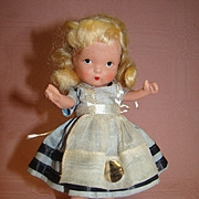 "5"" Judy Ann Alice in Wonderland Bisque Doll by Nancy Ann Abbott, California , Unplayed with and Mint, Gold Sticker Label"