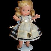 """5"""" Judy Ann Alice in Wonderland Bisque Doll by Nancy Ann Abbott, California , Unplayed with and Mint, Gold Sticker Label"""