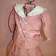 2 Pc. Skirt and Double Breasted Loose Fit Jacket / Top for Larger Antique Doll, Salmon / White Check with White Eyelet Collar