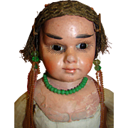 17.5 In. Unique Mystery Oriental Paper Mache Antique Shoulder Head Doll with Closed Mouth, Glass Eyes