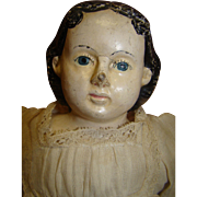 18 In. Greiner type German Paper Mache Doll, All Antique, Original Paint