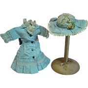 Lovely Blue and Ecru Silk Taffeta and Lace Dress and Hat for Antique Doll Approximately 11.5 to 12 In.