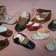 Lot of 10 Single Antique Boots and Shoes for French and German Dolls