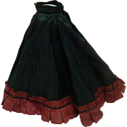 Lovely Antique Maroon and Black Silk Taffeta Skirt for French Fashion Outfit
