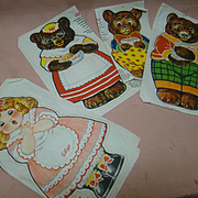 Mint, Uncut Cloth Goldilocks and the Three Bears Advertising Dolls for Kellogg Company, Copyright 1925