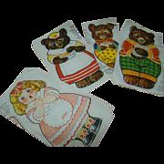 Mint, Uncut Cloth Goldilocks and the Three Bears Advertising Dolls for Kellogg Company, Copyright 1925