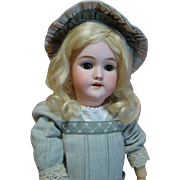 Beautiful 19 In. Brown Eyed Blonde German Heinrich Handwerck Mold #119, Nicely Dressed, Priced to Sell