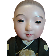 20th c. Ichimatsu Japanese Vintage Gofun Doll, Glass Eyes, Original in Silk and Brocade Kimono