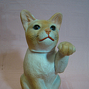 Rare Porcelain Sitting Cat Figurine with Glass Sleep Eyes, Swivel and Removable Head and Jointed Leg