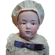 15 Inch Gebruder Heubach German Character Closed Mouth Pouty Mold #7603, Intaglio Eyes, Wood / Compo Body