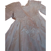 Beautiful Antique White Lawn Dress for a Lady Doll Using Netting, Embroidered and Cotton Edge Lace