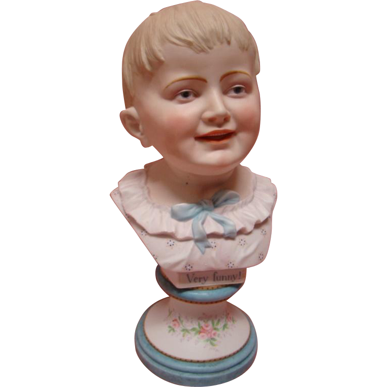 12 In. Antique Porcelain Bust of Young Boy with Blond Hair, Blue Intaglio Eyes with Blushing, Beautiful Ornate Pedestal Base,